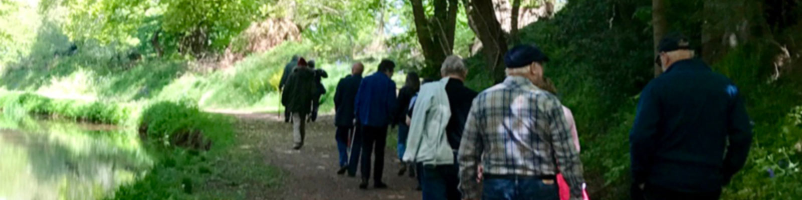 U3A members walk a path through a wooded area by a lake